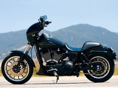Harley Davidson FXR. Have had ours for a while. Flat black with classic pinstriped scallops. Best bike ever.