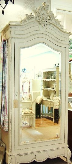 I need to add a mirror to my armoire!Gorgeous french painted shabby chic armoire or wardrobe. Ideal storage in a a bathroom or bedroom. Shabby Chic, Shabby Vintage, Vintage Armoire, Vintage Furniture, Painted Furniture, Painted Armoire, Distressed Furniture, French Furniture, Classic Furniture
