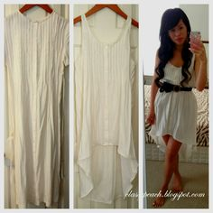 Lovely Alteration: Ugly goodwill nighty into gorgeous White High Low Tank Dress ~ Classy Peach