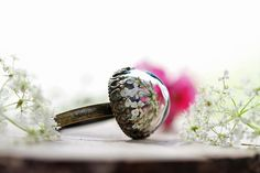 Real flower ring Queen annes lace nature by RubyRobinBoutique