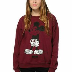 Neff x Disney Mickey Shrug Life Crew Sweatshirt Get a classic inspired look with no shortage of comfort in this thick fleece crew neck sweatshirt that features a floral Mickey Mouse graphic printed at the front. Great condition  Light piling  Size small  Sold out  Maroon  Floral black and white Neff Sweaters Crew & Scoop Necks