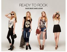 Ready To Rock | The Festival Look | Express | Must Have Looks | graphics tees, jeans, skirt, straw fedora/hat