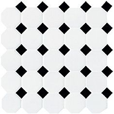 Mohawk® Glasen Stone Octagon 12 x 12 Ceramic Mosaic Tile at Menards®: Mohawk® Glasen Stone White with Black Dot Octagon 12 x 12 Ceramic Mosaic Tile Ceramic Mosaic Tile, Mosaic Wall Tiles, Bathroom Floor Tiles, Shower Floor, Glazed Ceramic, Porcelain Tile, Kitchen Floor, Bungalow Bathroom, Farmhouse Bathrooms