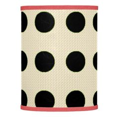 """Fun Dots"" Blk on Cream Fabric*  Red trim  Lamp"
