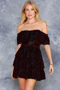 Burned Velvet Burgundy Floral Ruffle Dress - PRESALE ($120AUD) by BlackMilk Clothing