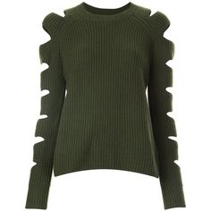 Zoe Jordan cut-out sleeve ribbed jumper (1.185 RON) ❤ liked on Polyvore featuring tops, sweaters, shirts, green, cut out sweater, ribbed sweater, ribbed shirt, cut out sleeve top and jumper shirt