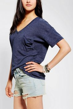 Truly Madly Deeply V-Neck Slouch Pocket Tee New Colors Available