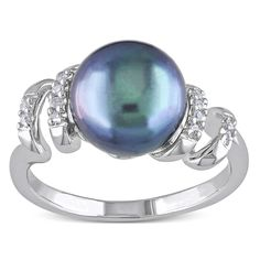 Miadora Sterling Silver Freshwater Black Pearl and Round-cut Diamond Ring