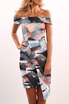 Caribbean Sunset Off Shoulder Asymmetrical Dress