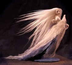 """Japanese Snow Maiden Yuki Onna"" by Forest Rogers Yuki Onna, Snow Maiden, Sculpture Clay, Fairy Dolls, Fantasy Creatures, Fairytale Creatures, Archetypes, Faeries, Fantasy Art"