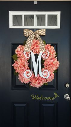 Decorate your front door, home, or even wedding ceremony with this beautiful hydrangea wreath! This wreath is made from an 18 inch natural grapevine base, 8 beautiful, realistic, peachy pink - coral colored hydrangea blooms along with realistic leaves. Can be accented with a beautiful script monogram of your choice!   This large wreath measures approximately 22 inches in diameter and 6 inches in depth. This wreath also makes a perfect gift! Check out all of our Spring & Summer wreaths…