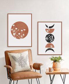 Boho Sun and Moon Print Set of Floral Terracotta Abstract Sun, Wild Flowers desert moon phases, Minimal wall art, Boho decor, Digital Art Boho Decor, Art Decor, Moon Print, Mid Century Modern Art, Living Room Art, Wall Art Designs, Minimalist Art, Collages, Gallery Wall