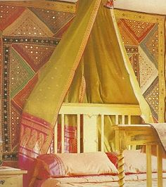 bohemian bedroom headboard with fabric