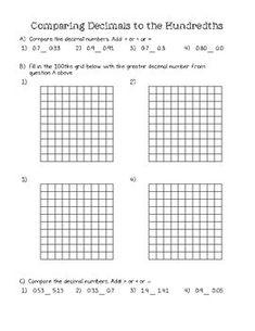 Comparing Two Decimals - Worksheet (4.NF.7) | Decimals ...