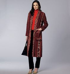 V1478, Misses' Long Coat pattern is Semi-fitted, lined coat (does not meet at center front) has front extending into back collar, fold-back front facing, and two-piece sleeves with Pleated pockets with mock-band and purchased trim.
