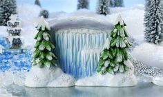 The miniature Snow Fairies Waterfall & Trees are sure to be the talk of the fairy garden in winter.