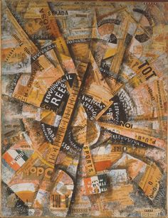 Collage by Carlo Carra (1914) at the International Museum of Collage, Assemblage and Construction
