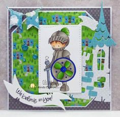 Great card with a knight digital stamp. Perfect for kids.