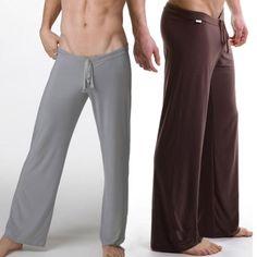 Male silky loose casual pants breathable casual trousers drawstring yoga pants Men lounge pants pajama pants $12.99