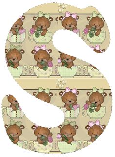 CH.B *✿* De Katia Artes Alfabeto Animal, Unfinished Business, Alphabet, Teddy Bear, Learning, Toys, Monogram, Animals, Decorated Letters