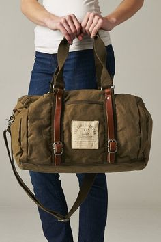 Canvas Genuine Leather Straps Duffle Bag Carry On by EsraBoutique