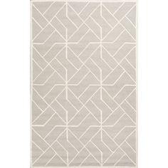 Jaipur Rugs Modern Geometric Pattern Gray/Ivory Wool Area Rug LOE13 (Rectangle)