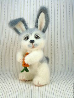 Купить Валяный заяц Тимошка. Игрушка из шерсти. - белый, серый, валяный заяц, игрушка из шерсти