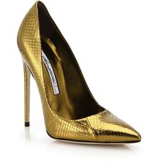 Brian Atwood FM Metallic Snakeskin Pumps ($935) ❤ liked on Polyvore featuring shoes, pumps, apparel & accessories, bronze, snake print pumps, snake print shoes, python pumps, snake skin shoes and metallic pumps