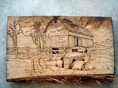 Wood burned (pyrography).