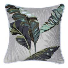 Tropical Hawaiian Balinese Beach Green Cream Grey Natural Palm Leaf Tree Cushion | eBay