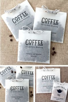 Beautiful coffee and tea bags for party favors at your wedding ♥ ¸ . - Beautiful coffee and tea bags for party favors at your wedding ♥ ︎ - Wedding Presents For Guests, Unique Wedding Gifts, Unique Weddings, Guest Present Wedding, Candle Wedding Favors, Wedding Favors Cheap, Wedding Invitations, Diy Wedding Souvenirs, Wedding Bags