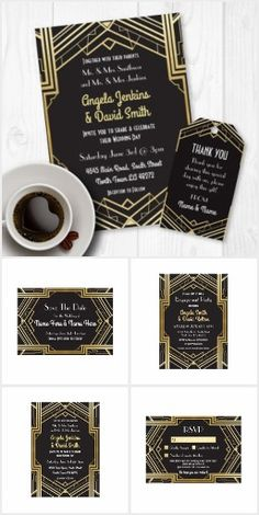 Gatsby Black & Gold Wedding Invitation Collection This elegant Gatsby Black & Gold Wedding Collection is perfect to set a vintage Art Deco theme to your big day.