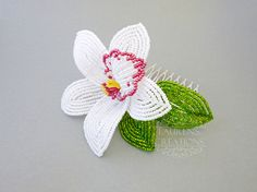 Beaded Orchid Hair Comb, white Cymbidium wedding hair piece, Tropical bridal…