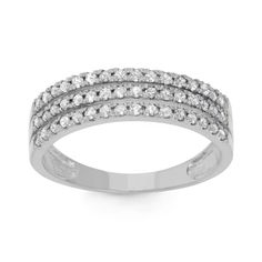 Gioelli 10k White Gold 1/2ct TDW Diamond Channel-set Ring (H-I, I1-I2) (Size 6), Women's