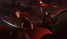 """the coming of Ulfang by greenapplefreak.deviantart.com on @DeviantArt """"Maedhros and his banner bearer turn to look at the men of Ulfan coming from the east…which is weird, because according to their plan Caranthir and his lot should already be closer to the north… This is not suspicious at all. ¬¬;"""""""