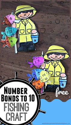 FREE Number Bonds to 10 Fishing Craft - this free printable summer math craft is a fun way for preschool, kindergarten and first grade kids to practice make Perfect summer learning math practice Free Worksheets For Kids, Kindergarten Worksheets, Preschool Kindergarten, Number Bonds To 10, Free Printable Numbers, Craft Free, Craft Kids, Math Crafts, Preschool Crafts