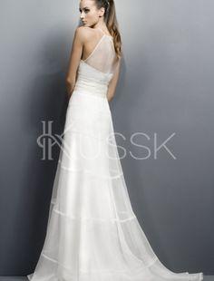 Sanduhrförmiges A-Line bodenlanges Brautkleid für dünne Frau für Apfelförmige Figur