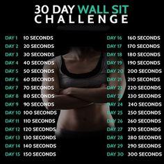 30 Day Wall Sit Challenge - Fitness Training Butt Workout Core