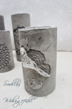 DIY: concrete candle holder / cement candle holder - All For Decoration Cement Art, Concrete Cement, Concrete Furniture, Concrete Crafts, Concrete Projects, Concrete Candle Holders, Diy Candle Holders, Diy Candles, Art Concret