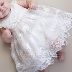 Baby baptism dress, silk baptism dress, baby christening dress, baby dress with butterflies Christening Outfit Girl, Baby Christening Gowns, Baby Girl Baptism, Baptism Dress, Baby Girl Dress Patterns, Baby Dress, Frocks For Girls, Cute Baby Clothes, Silk Dress