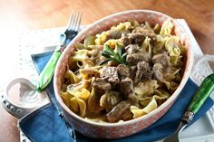 Pressure Cooker Beef Stroganoff.  So  good, if you don't use a pressure cooker, you should really try one.  Not much to be afraid of unless you leave the temp on high! Believe me it will let you know!!  Nothing like one for a FAST meal of a not so tender meat...Susie