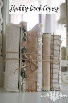 Pssst! You'll want to pin this one for later! Do you like the vintage style book DIY projects, but don't want to destory books? This idea for Shabby Book Covers keeps the book intact. There's a Periscope on making the covers on the website too! | Country Design Style | countrydesignstyle.com
