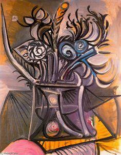 'Flores numa mesa 1', óleo por Pablo Picasso (1881-1973, Spain)