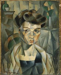 Portrait of Madame Metzinger Jean Metzinger It's cubism because of the different geometric shapes. Portraits Cubistes, Cubist Portraits, L'art Du Portrait, Cubist Paintings, Georges Braque, Pablo Picasso, Picasso And Braque, Cubist Artists, Cubism Art
