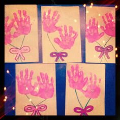 Mothers Day cards I made earlier this year for the 2 year old class. Next year will use different colors and maybe more handprints to look like a bouquet of flowers.