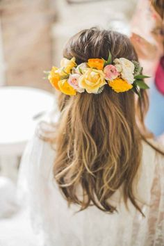 Flower Crown Wedding Hairstyles for Brides and Flower Girls   TheKnot.com #weddingcrowns