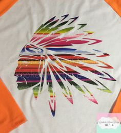 Serape Indian Chief Headress 3/4 sleeve by CrookedArrowDesign