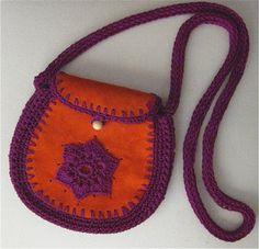 Purple Crochet and Orange Suede Cross Body Bag by Karen Kell Collection
