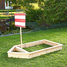 Wooden Pirate Ship Sandbox Kids Childrens Garden Play Boat Sandpit+Sail Red: Amazon.co.uk: Garden & Outdoors