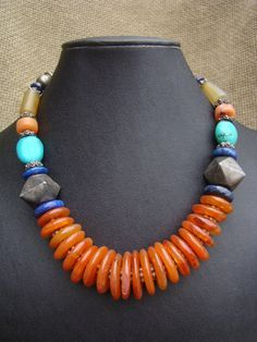 Necklace - Carnelian discs with lapiz, turquoise, amber and antique Ethiopian silver beads